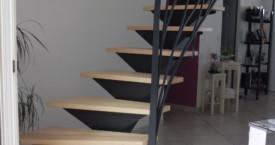 escalier et rampe en acier thermolaqué